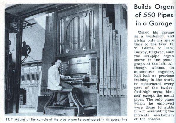 550 трубный орган сконструировал в своем гараже товарищ Адамс