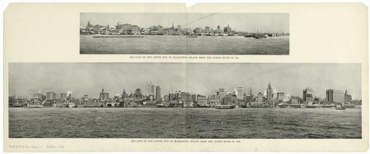Нью-Йорк Нижний Манхэттен в 1891 и 1898 годах.