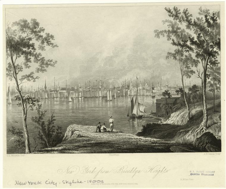 Даунтаун с Бруклинских высот в 1800х.