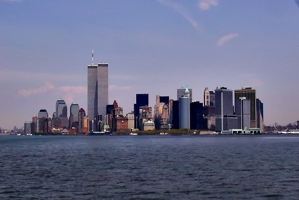 Нью-Йорк Вид на нижний Манхэттен пере 911.