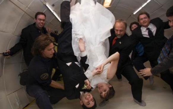 необычная свадьба в невесомости