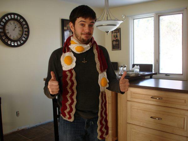 Шарф яичница необычные шарфы