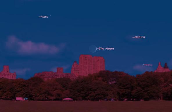 Планета Сатурн в ночном небе